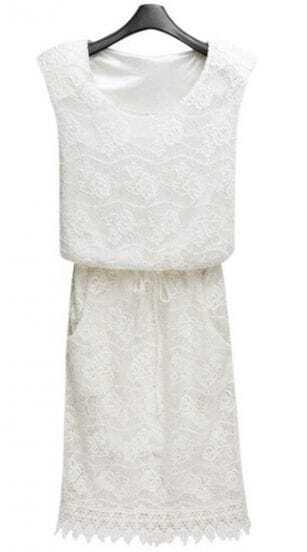 White Sleeveless Hollow Lace Tie Pockets Sheath Dress