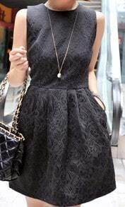 Black Crew Neck Sleeveless Convex pattern Floral Print Pleated Dress