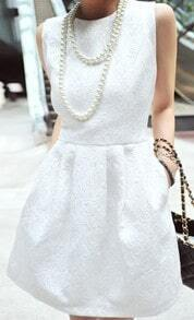 White Crew Neck Sleeveless Convex pattern Floral Print Pleated Dress