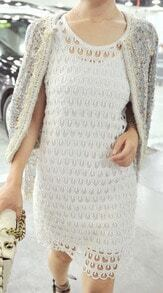 White Sleeveless Peacock Feathers Hollow Out Two Pieces Dress