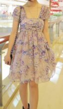 Purple Square Neck Strapes Floral Print Pleated Chiffon Dress
