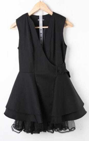 Black V Neck Sleeveless Ruffles Mesh Yoke Hem Wrap Mini Dress