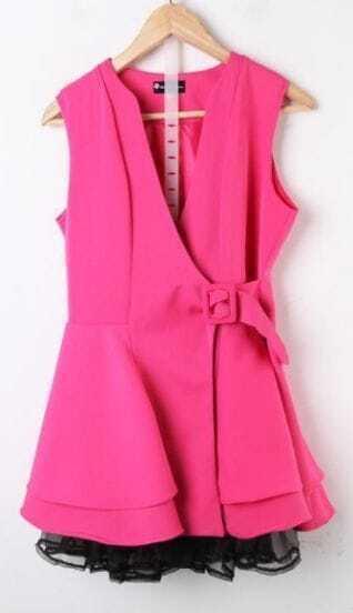 Rose V Neck Sleeveless Ruffles Mesh Yoke Hem Wrap Mini Dress