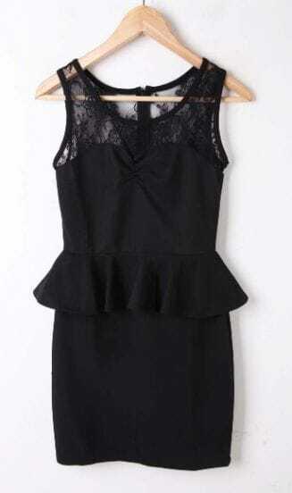 Black Sleeveless Lace Insert Zip Back Peplum Bodycon Dress