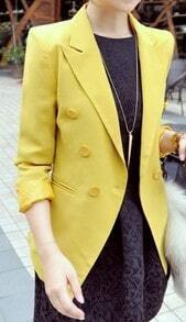 Yellow Notch Lapel Double Breasted Tuxedo Chiffon Blazer