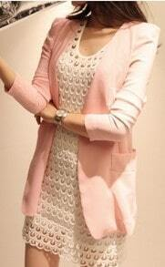 Pink Collarless Pads Shoulder Big Pockets Side Blazer