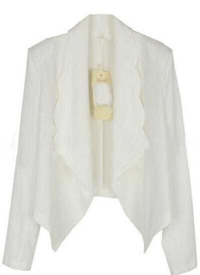 White Long Sleeve Scallop Edge Waterfall Chiffon Blazer