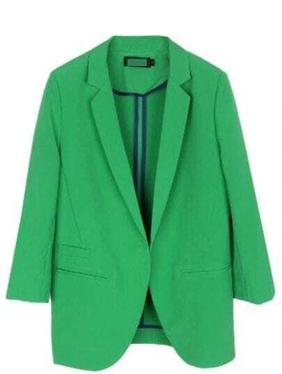 Green Three Quarter Length Sleeve Pockets Curved Hem Blazer