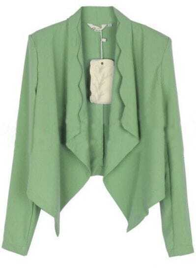Green Long Sleeve Scallop Edge Waterfall Chiffon Blazer