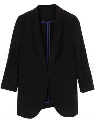 Black  Three Quarter Length Sleeve Pockets Curved Hem Blazer