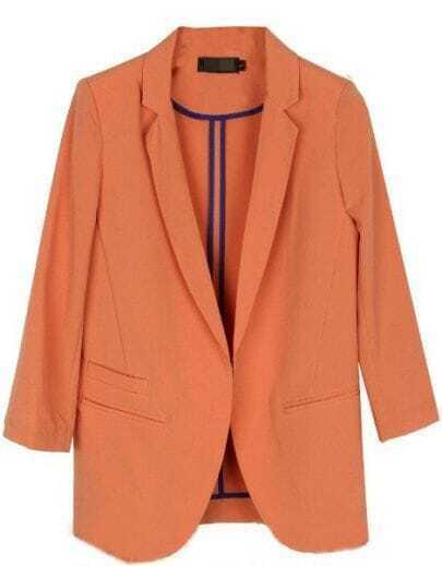 Orange Three Quarter Length Sleeve Pockets Curved Hem Blazer
