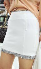 White Sequnied Trims Bodycon Short Skirt