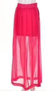 Rose Red Bodycon Skirt with Split Side Maxi Layer
