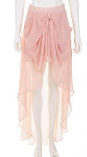 Pink High Waist Draped Side High Low Chiffon Skirt