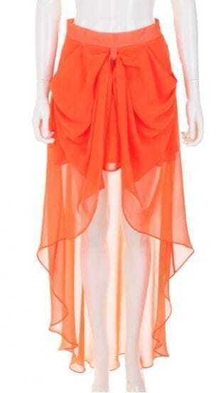 Orange High Waist Draped Side High Low Chiffon Skirt