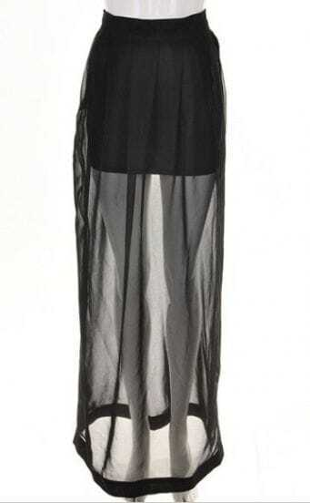Black Bodycon Skirt with Split Side Maxi Layer