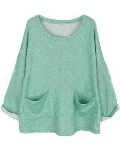 Green Batwing Long Sleeve Pockets Front Oversized Sweatshirt