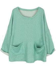 Green Batwing Long Sleeve Pockets Front Oversized Sweatshirt