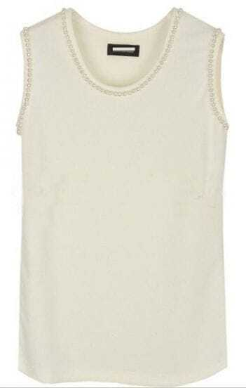White Pearls Round Neck Sleeveless Cotton Tank Vest