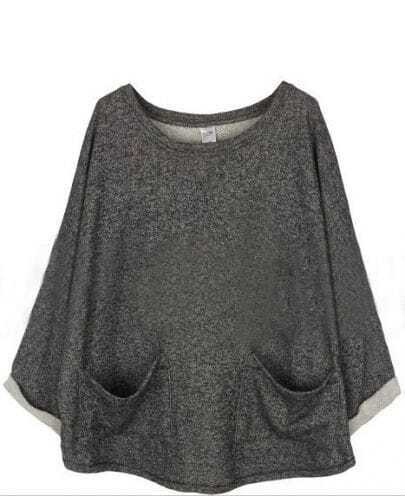 Dark Grey Batwing Long Sleeve Pockets Front Oversized Sweatshirt