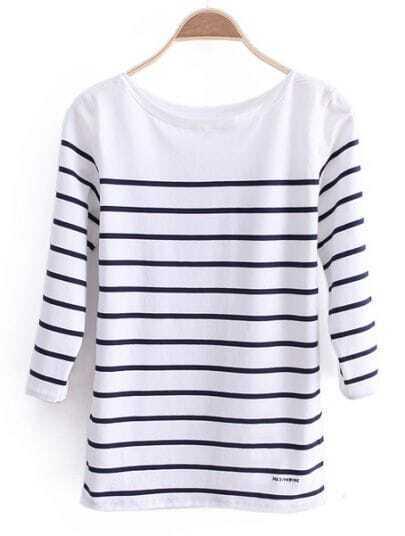 Blue White Striped Round Neck Slim Cotton T-Shirt