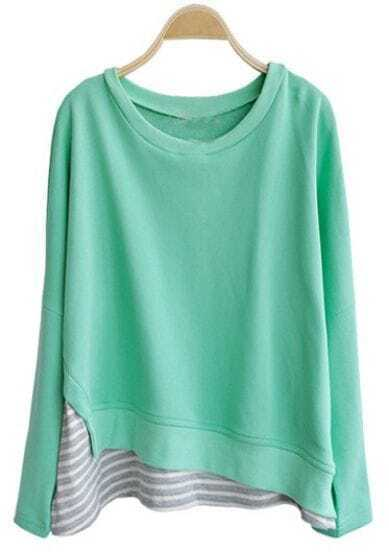 Green Round Neck Long Sleeve Striped Loose Sweatshirt