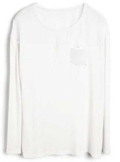 White Street Round Neck Long Sleeve Slim T-Shirt