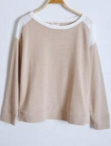 Khaki Round Neck Loose Batwing Cotton T-Shirt