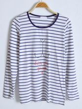 Navy White Striped Letters Print Cotton T-Shirt
