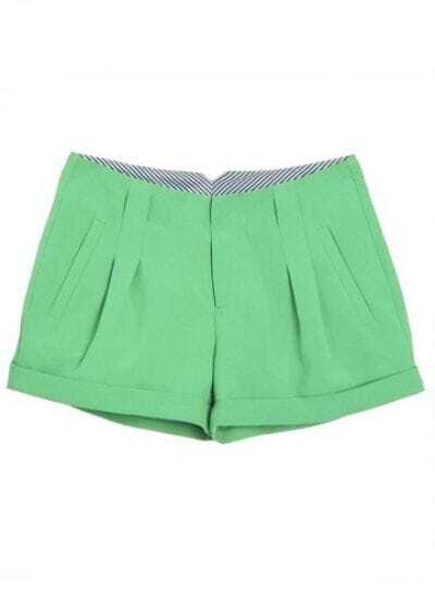 Green Mid Drawstring Waist Pleated Polyester Shorts