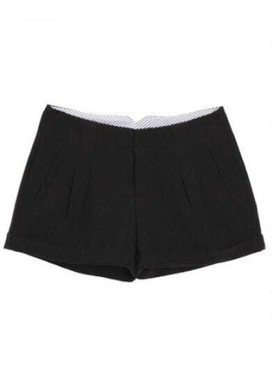 Black Mid Drawstring Waist Pleated Polyester Shorts