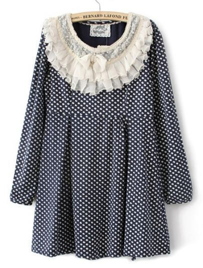 Navy Polka Dot Ruffles Neck Cotton Blends Dress