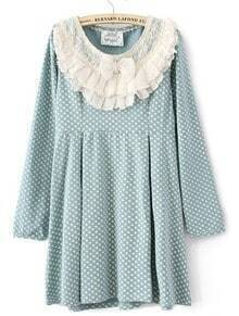 Blue Polka Dot Ruffles Neck Cotton Blends Dress