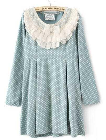 Blue Polka Dot Ruffles Neck Cotton Blends Dress
