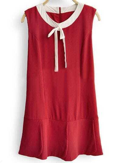 Red Round Neck Sleeveless Bow Loose Chiffon Dress