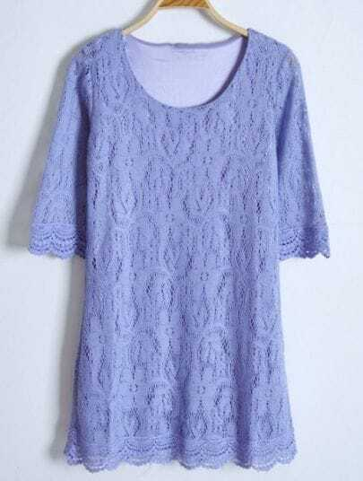 Purple Lace Hollow Loose Embroidery Polyester Dress