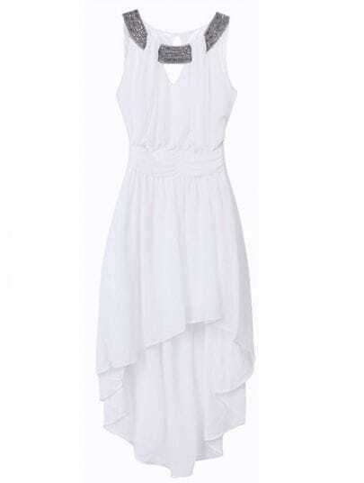 White High Waist Asymmetrical Pleated Chiffon Dress