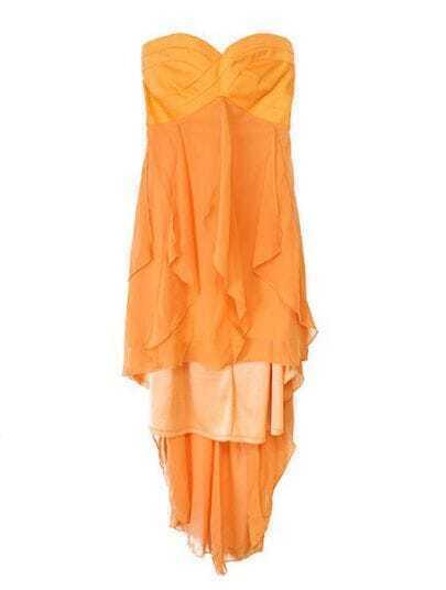 Orange Strapless Asymmetrical Chiffon Dress