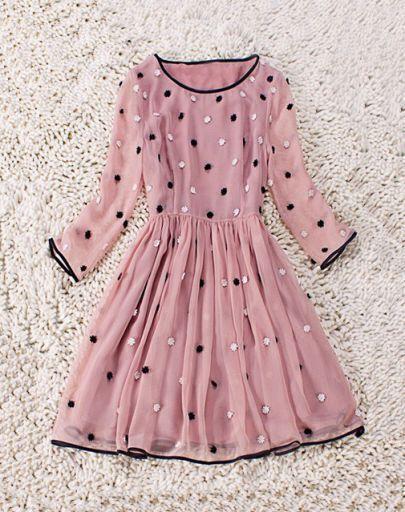 Pink Round Neck Flowers Pleated Silk Dress