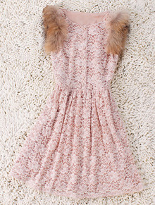 Pink Single Breasted Wool Floral Cotton Dress