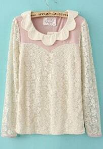 Lace Long Sleeve Scallop Collar Contrast Pink Panel Blouse