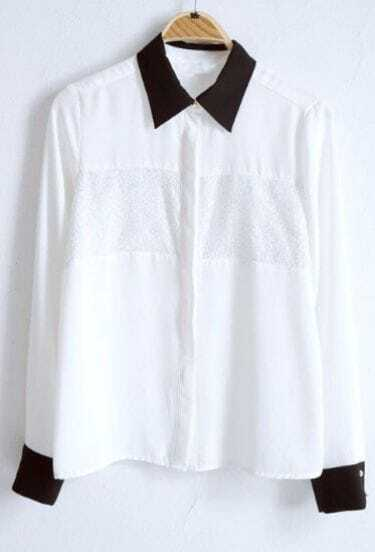 White Contrast Black Wing Lapel Blouse with Silver Yarn Front
