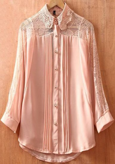 Pink Batwing Sleeve Lace Collar Pintucks Pleated Sheer Blouse