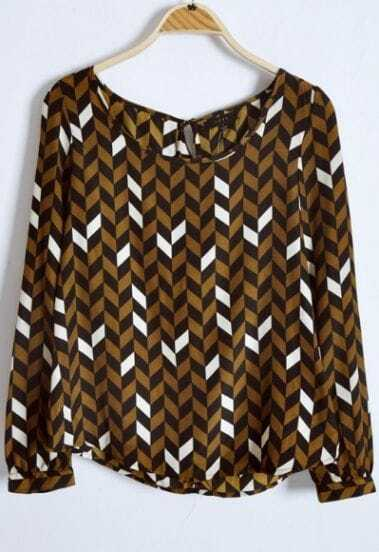 Coffee Pads Shoulder Geo Print Ruffles Back Blouse
