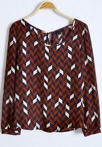 Dark Red Pads Shoulder Geo Print Ruffles Back Blouse