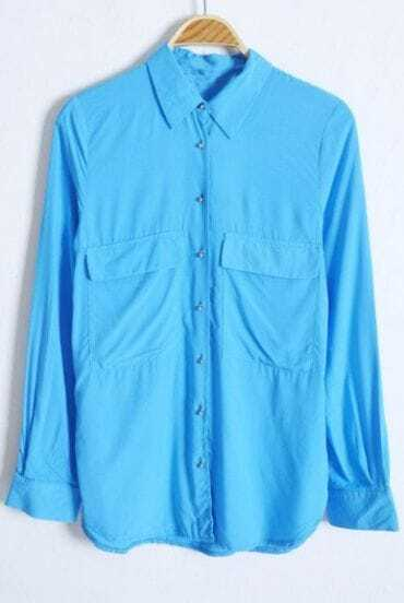 Turquoise Long Sleeve Wing Lapel Pockets Equipment Blouse