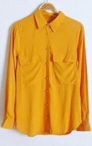 Yellow Long Sleeve Wing Lapel Pockets Equipment Blouse