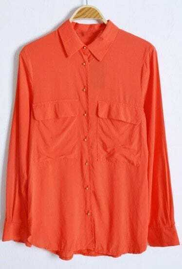 Orange Long Sleeve Wing Lapel Pockets Equipment Blouse