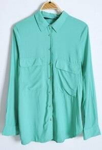 Green Long Sleeve Wing Lapel Pockets Equipment Blouse