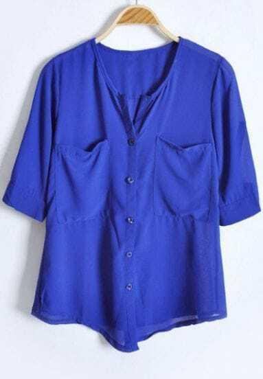Royal Blue Half Sleeve Pockets Bottons Placket Chiffon Blouse